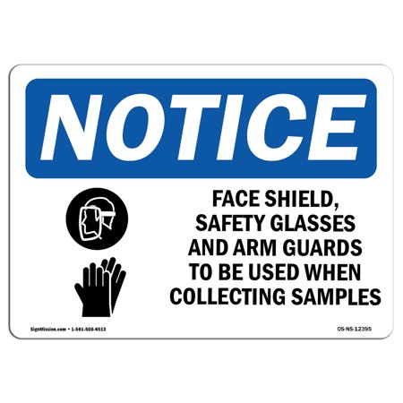 OSHA Notice Sign - Face Shields, Safety Glasses | Choose from: Aluminum, Rigid Plastic or Vinyl Label Decal | Protect Your Business, Construction Site, Warehouse & Shop Area | Made (Flattering Glasses For Your Face)