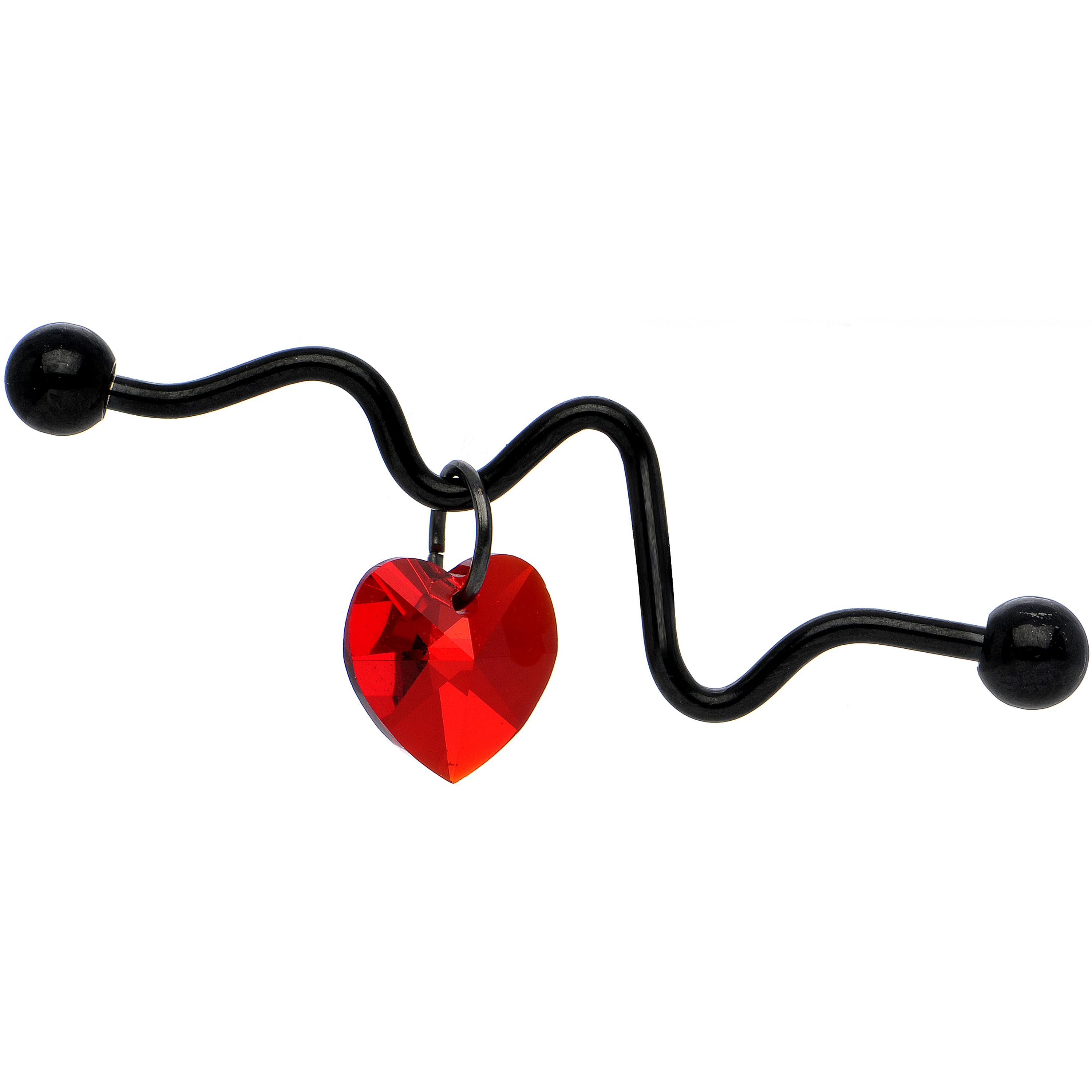 Body Candy Black Anodized Red Heartbeat Industrial Barbell Created with Swarovski Crystals 14 Gauge 38mm