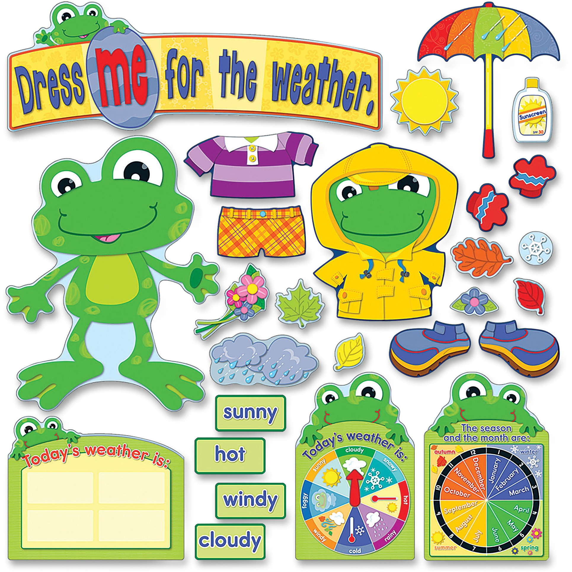Carson-Dellosa Weather Frog Bulletin Board Set