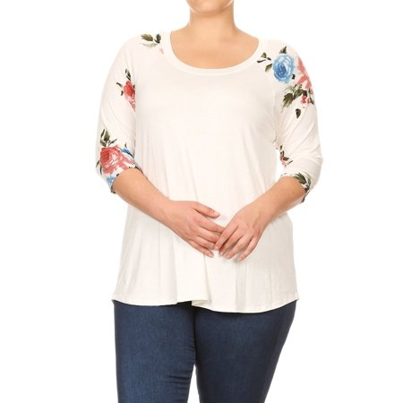 10097846a74 Moa Collection - Women s Plus Size Raglan Style Floral Sleeve Tunic Top -  Walmart.com