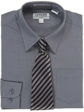 d190d145 Product Image Dark Grey Button Up Dress Shirt Grey Stripe Tie Set Toddler  Boys 2T-4T
