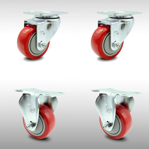 Stainless Steel Polyurethane Swivel Top Plate Caster Set Of 4 W 3 X 1 25 Red Wheels Includes 2 Swivel 2 Rigid 1000 Lbs Total Capacity Service Caster Brand Walmart Com Walmart Com