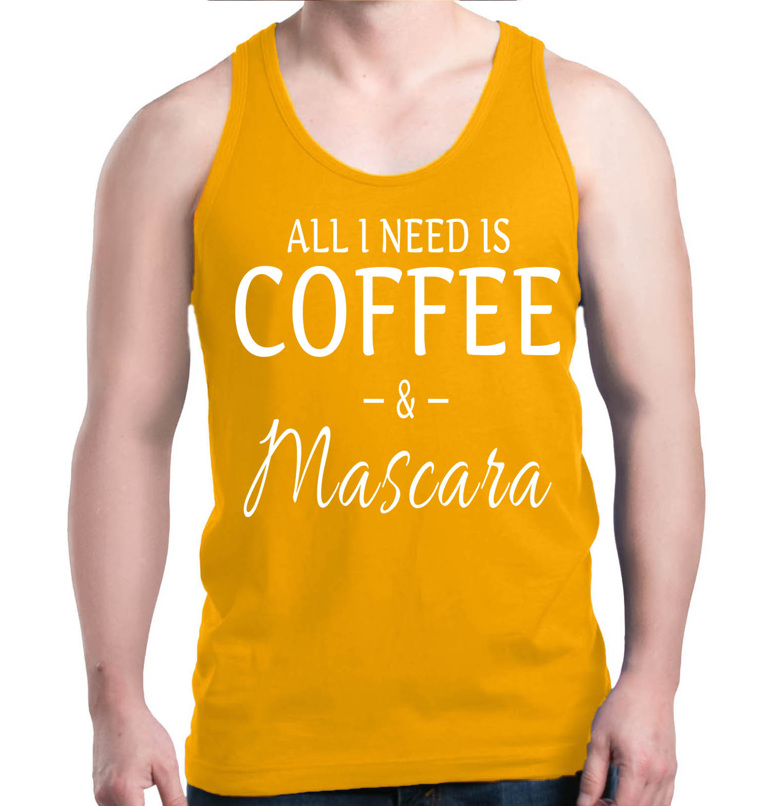 Shop4Ever Men's All I Need Is Coffee & Mascara Graphic Tank Top