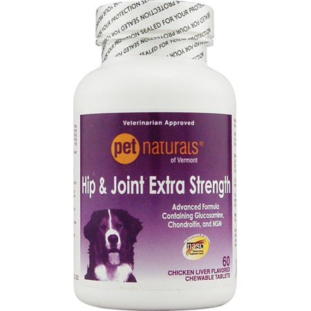 Pet Naturals of Vermont Hip and Joint Extra Strength for Dogs Chicken Liver 60 Chewable Tablets