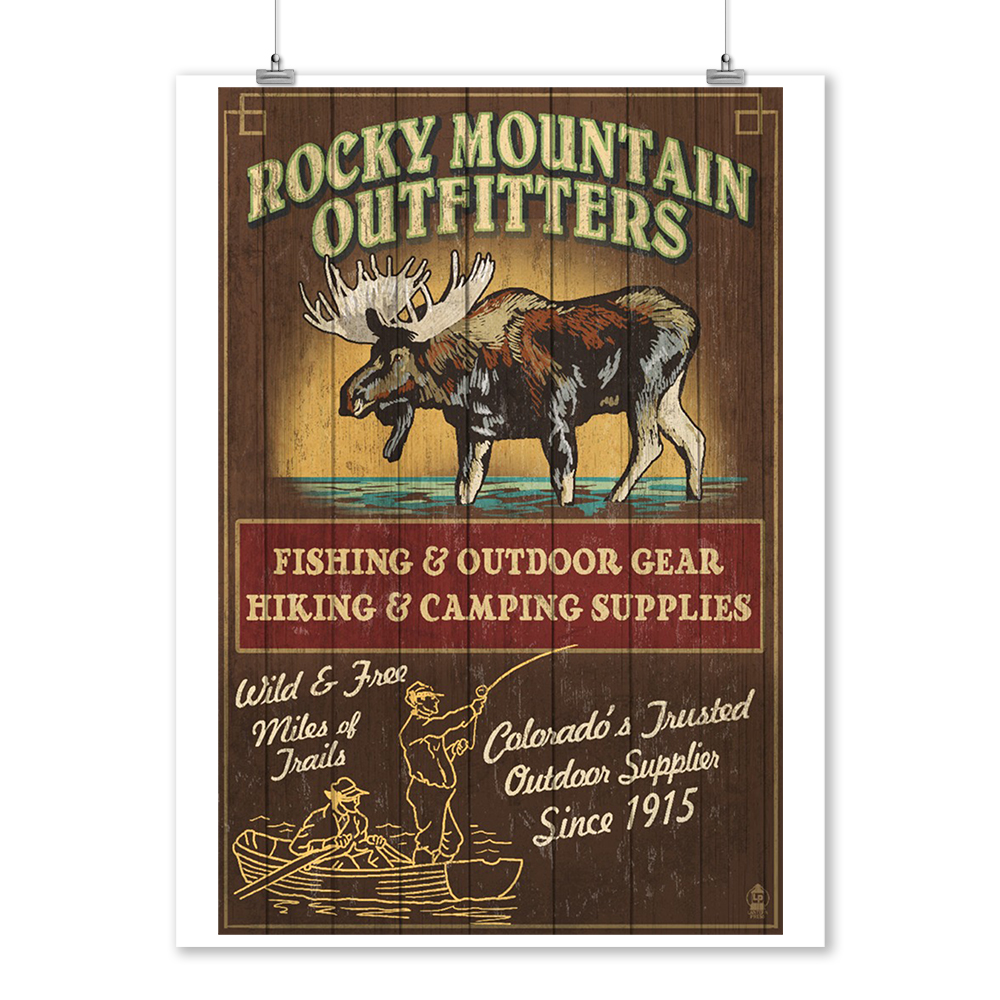 Rocky Mountain - Moose Outfitters - Vintage Sign - Lantern Press Poster (9x12 Art Print, Wall Decor Travel Poster)