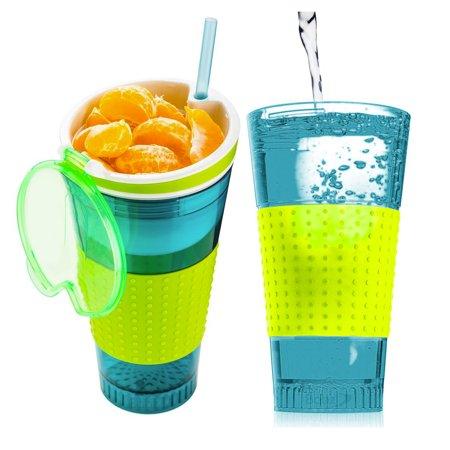2 Snack & Drink 2-in-1 Travel Tumbler Mugs w/ Straw Beverage Food Easy Grip 16oz