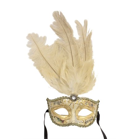 VENETIAN MASK - Masquerade Ball Masks - FANCY FEATHERS (Black And White Venetian Mask)