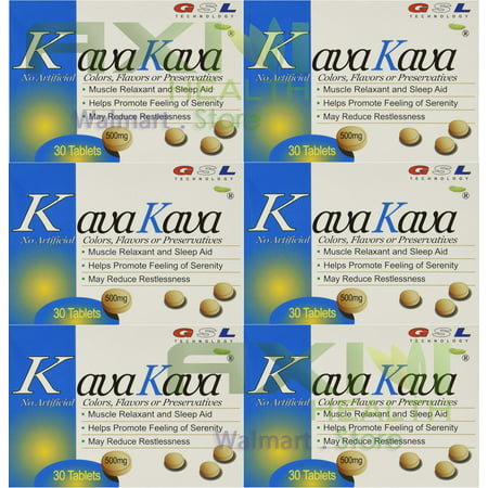 (6 Packs) GSL Kava Kava Muscle Relaxant & Sleep Aid 500 milligram/each tablet ()