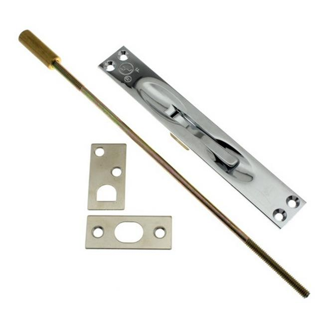 Solid Brass Extension Flush Bolt UL Standard Rod, Polished Chrome - 12 in. - image 1 of 1