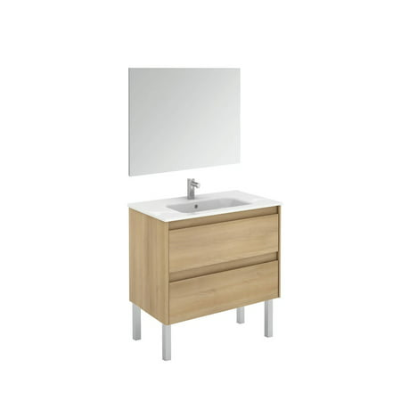 Ambra 80F Pack 1 Nordic Oak Free Standing Complete Vanity Unit with Mi