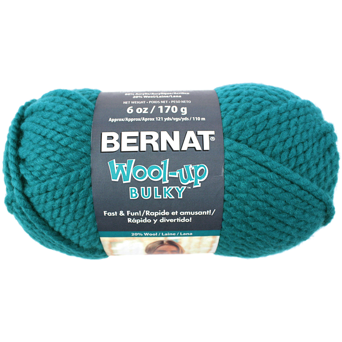 Spinrite Wool-Up Bulky Yarn, Teal Multi-Colored