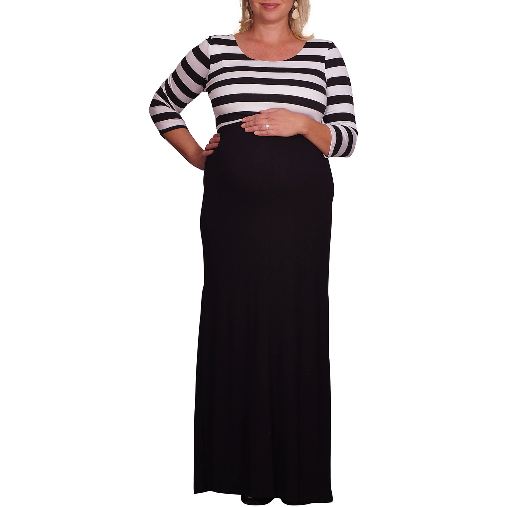 Mommylicious Maternity Color Blocked Striped Plus Maternity Maxi