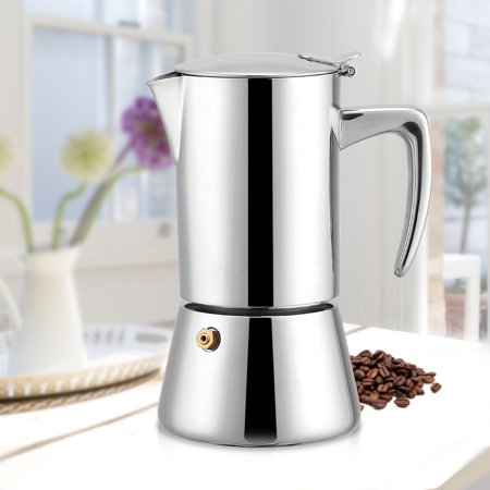 Ymiko 200ml Stainless Steel Moka Pot Espresso Coffee Maker For Gas Electric Stovetop
