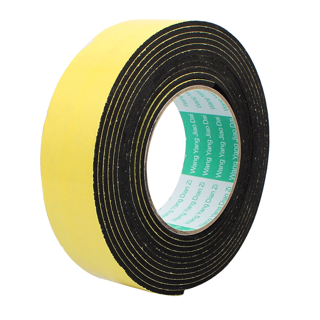 4M 40mm x 3mm Single-side Adhesive Shockproof Sponge Tape Yellow Black