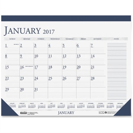 House of Doolittle Two-Color Compact Desk Pad Calendar - Julian - Monthly - Jan to Dec 2017 - 18.50