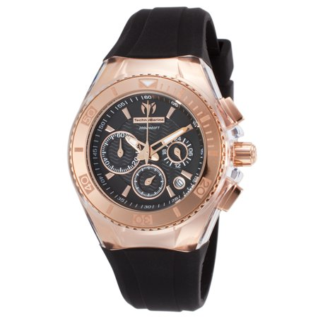 Technomarine Tm-115033 Women's Cruise Star Chrono Black Silicone And Dial Rose-Tone Case Watch
