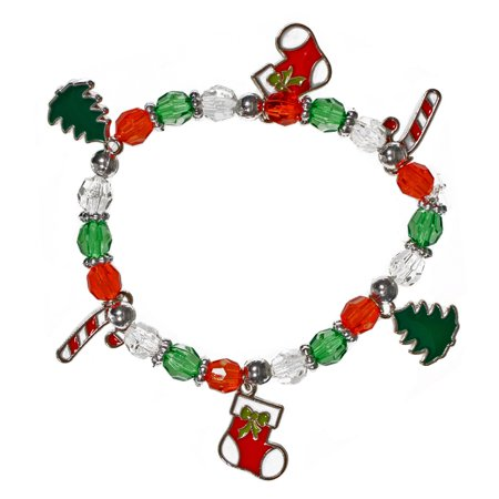Craft County Beaded Christmas Charm Bracelet Kits - Choose from Two Holiday Designs - DIY Craft Kits make 12 Bracelets for Friends & Family - Ideal for Kids Ages 3 to 99 ()