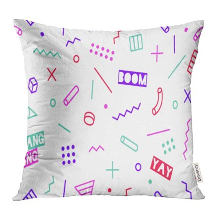 ARHOME Graphic Trendy Pattern 80S 90S Styles on Black Colorful with Different Shapes Design Pillow Case Pillow Cover 18x18 inch Throw Pillow - 80s Decorating Style