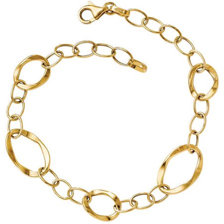 Primal Gold 14 Karat Yellow Gold Polished Fancy Link Bracelet 14k Crystal Charm Bracelet