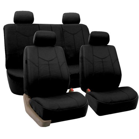 FH Group Black Rome Faux Leather Airbag Compatible and Split Bench Car Seat Covers, Full Set
