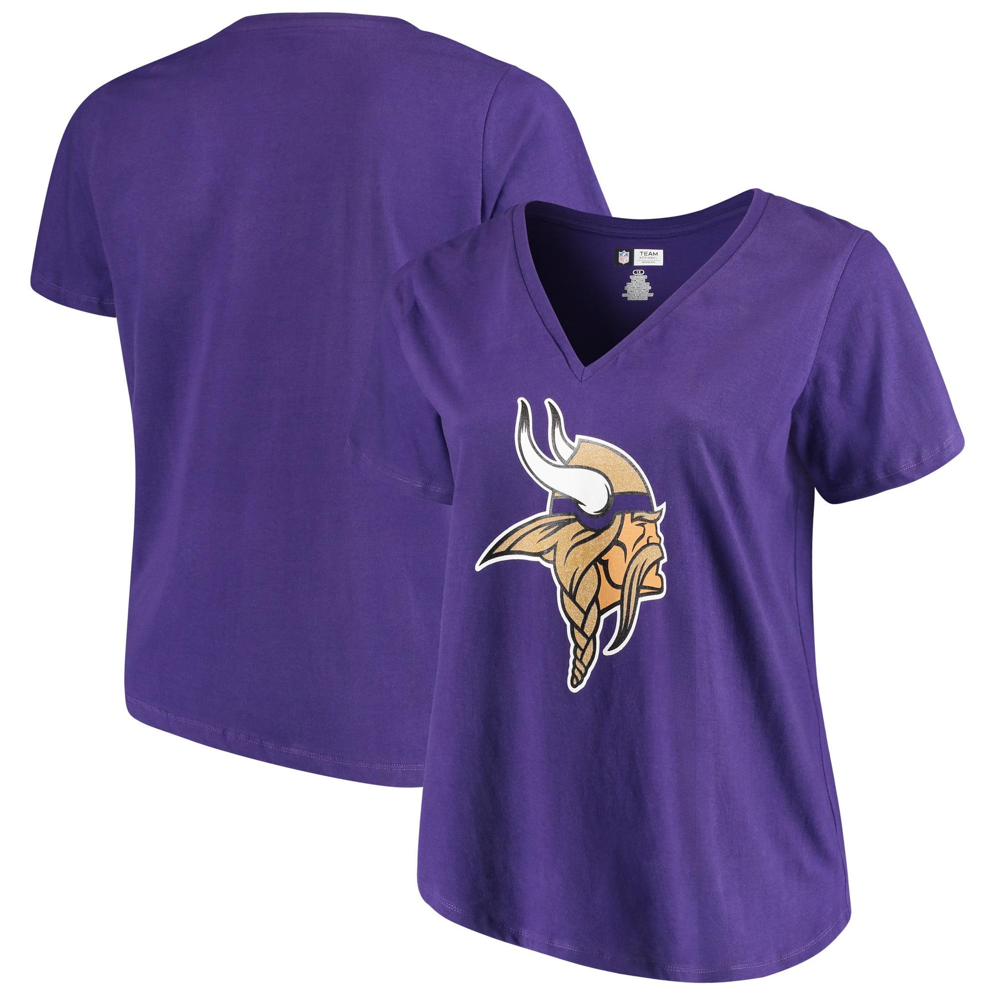 Women's Majestic Purple Minnesota Vikings Plus Size Logo V-Neck T-Shirt