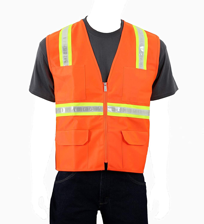Safety Depot Large Reflective Vest with Pockets Standard Safety Vest