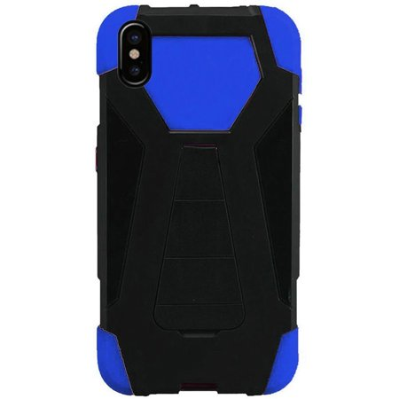 Apple iPhone X Case, by Insten Dual Layer [Shock Absorbing] Hybrid Stand Hard Plastic/Soft Silicone Case Cover For Apple iPhone X, Black/Dark blue - image 1 de 3