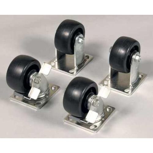 Knaack Caster Set w/Brakes, Steel and Solid Polypropylene, Black, 495