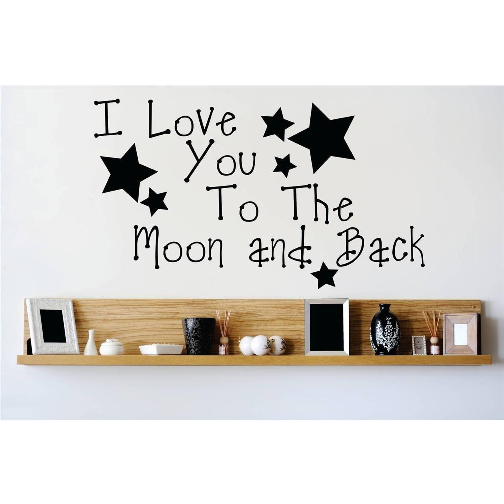 "I Love You To The Moon And Back Bedroom Vinyl Wall Decal, 15"" x 20"", Black"