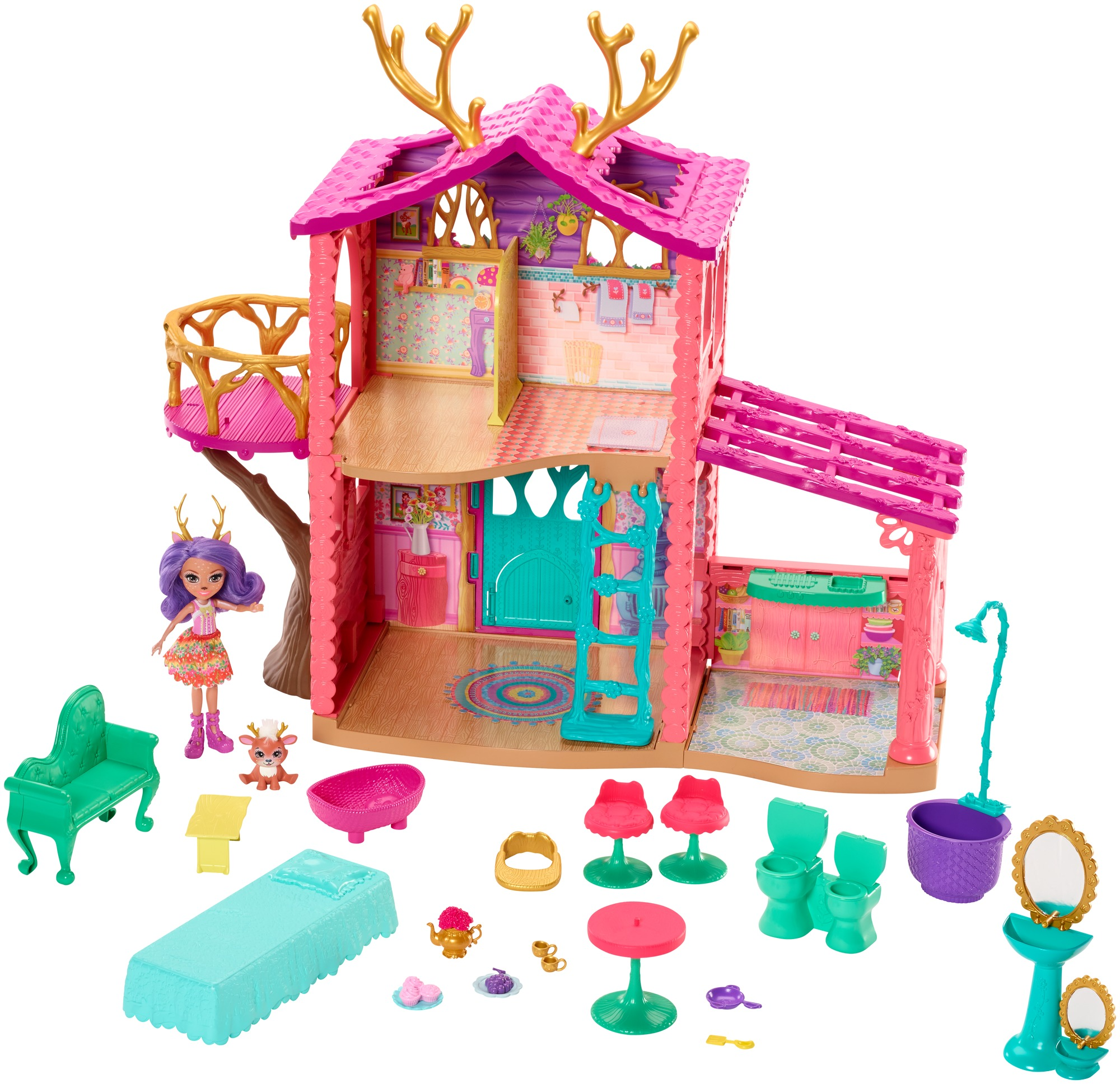Enchantimals Cozy Deer House Playset + Danessa Deer Doll & Sprint Figure