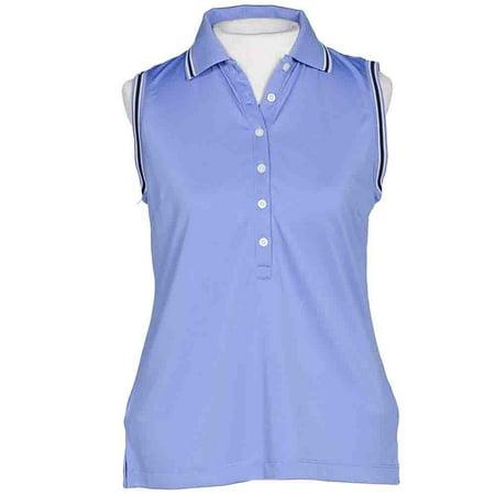 Page & Tuttle Womens Stripe Trim Sleeveless Golf Athletic  Polo - Cool Plus Stripe Polo
