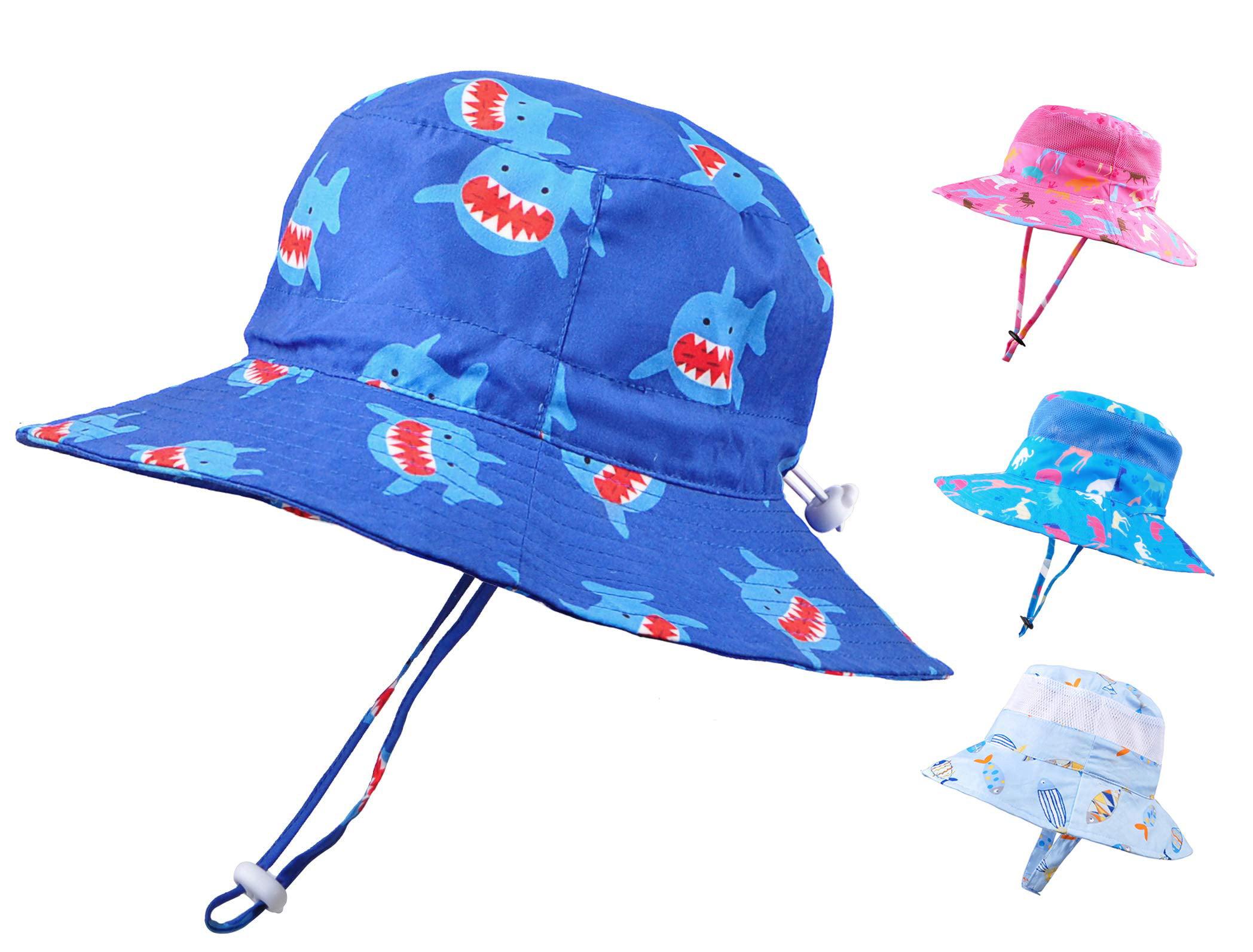 Baby Sun Hat Toddler Kids UPF 50 UV Ray Sun Protection Wide Brim Bucket Swimwear Animal Hat