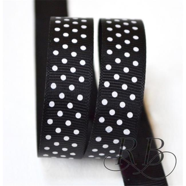 Ribbon Bazaar 954 0.63 in. Grosgrain Swiss Dots Ribbon, Black - 25 Yards