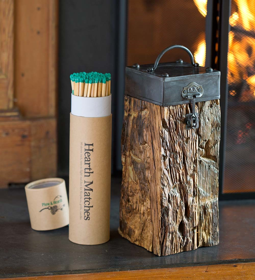 Recycled Wood Fireplace Match Holder w  Matches & Fire Starter by Plow & Hearth