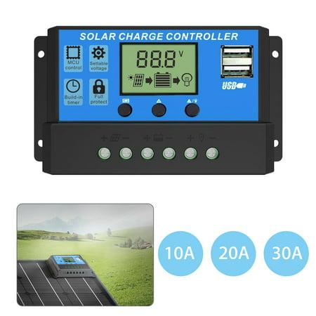 EEEkit 12V 24V 10A/20A/30A Solar Charge Controller,Intelligent USB Port Display 12V/24V Auto Charge Regulator ()