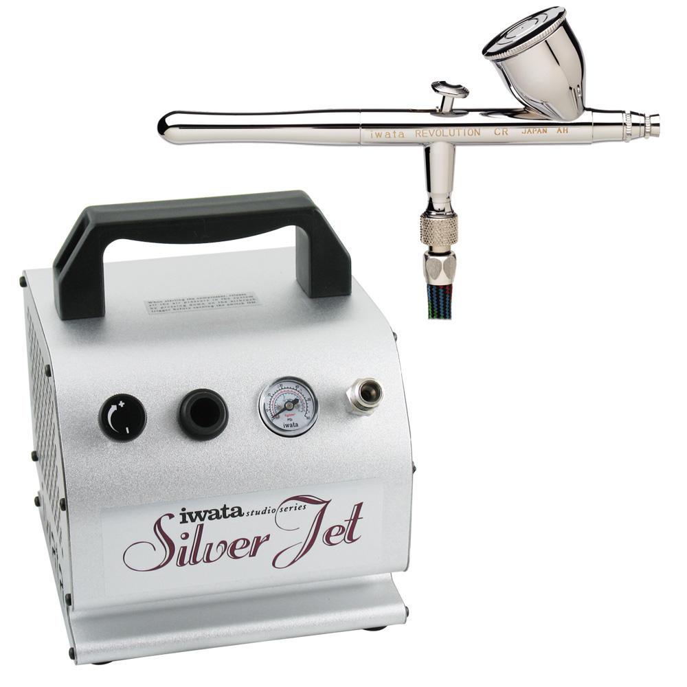 IWATA Revolution CR Airbrushing System with Silver Jet Ai...