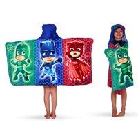 PJ Masks Kids Bath and Beach Hooded Towel Wrap, 100% Cotton
