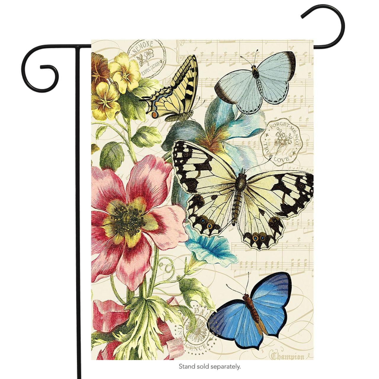 """Spring Botanical Garden Flag Butterflies Floral Seasonal 12.5"""" x 18"""""""