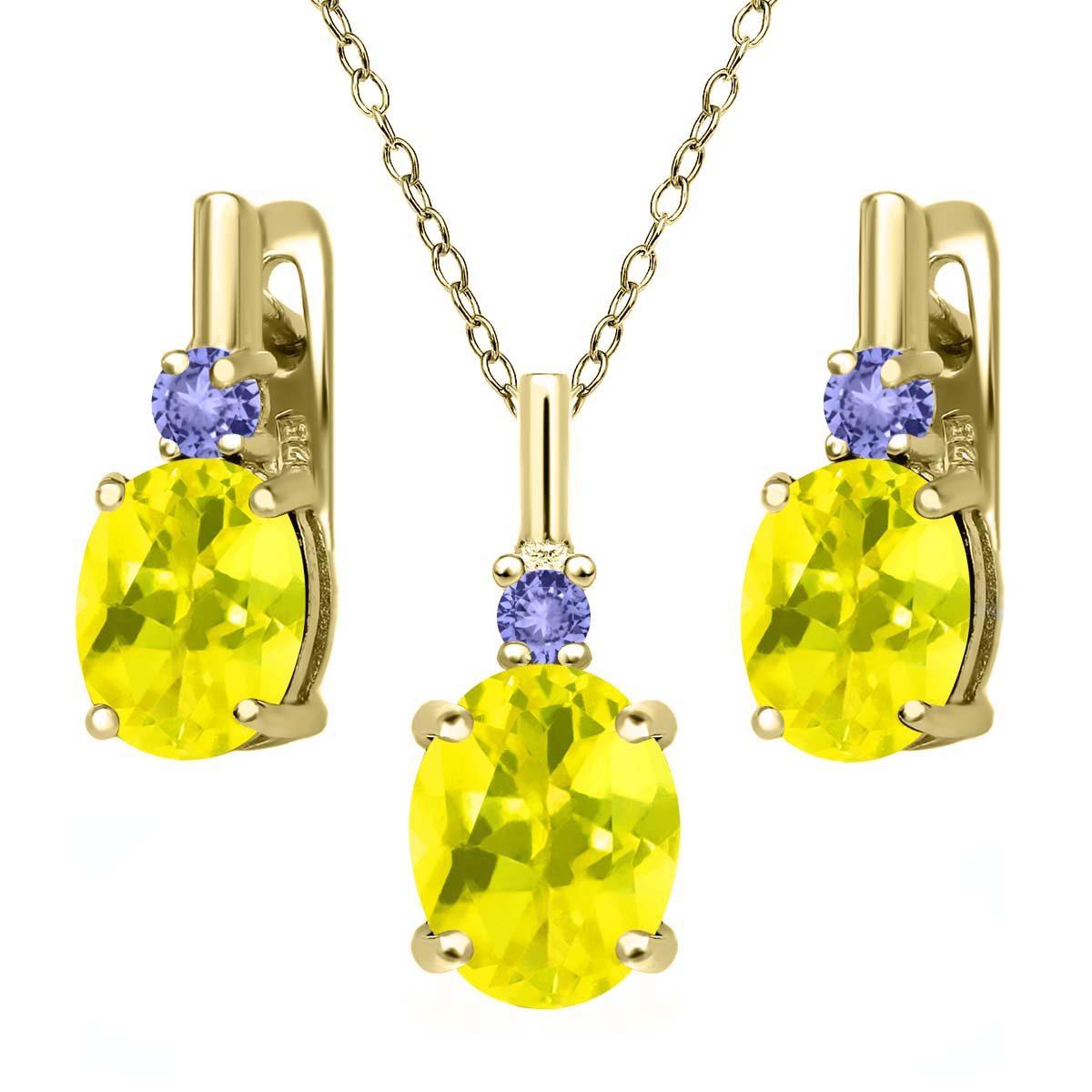 6.98 Ct Canary Mystic Topaz Blue Tanzanite 18K Yellow Gold Plated Silver Pendant Earrings Set by