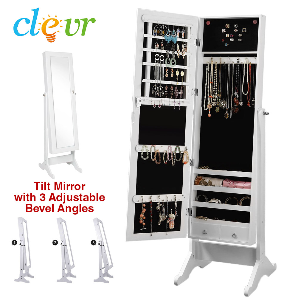 Clevr White Mirrored Jewelry Cabinet Armoire Mirror Organizer