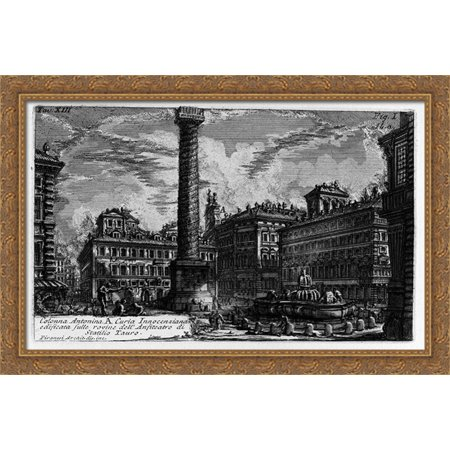 The Roman antiquities, t. 1, Plate XIII. Column of Marcus Aurelius. 40x26 Large Gold Ornate Wood Framed Canvas Art by Giovanni Battista Piranesi