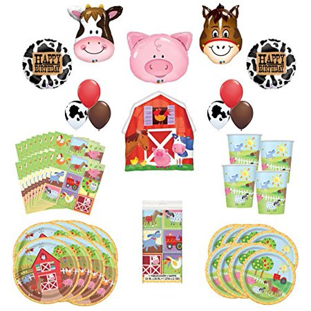 Farm Animal Birthday Supplies (Farm Animal Party Supplies 8 Guests Birthday Balloon Bouquet)