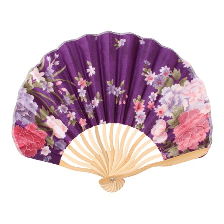 Womens Pennies - Women Dancing Party Bamboo Frame Peony Printed Hand Folding Cooling Fan Colorful