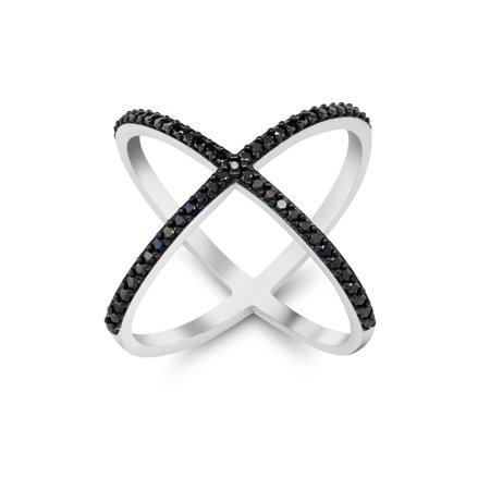 Black and White 925 Silver Cubic Zirconia CZ Criss-Cross Single