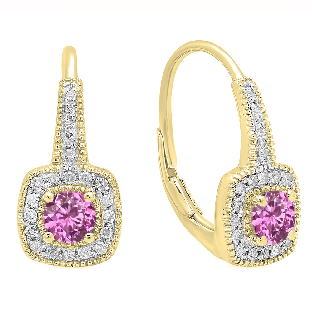 0.65 Carat (ctw) 18K Yellow Gold Round Cut Pink Sapphire & White Diamond Ladies Halo Style Dangling Earrings