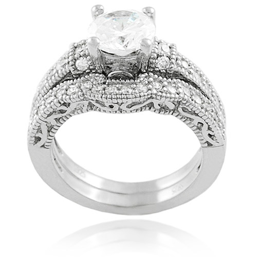 Alexandria Collection CZ Sterling Silver Bridal Set