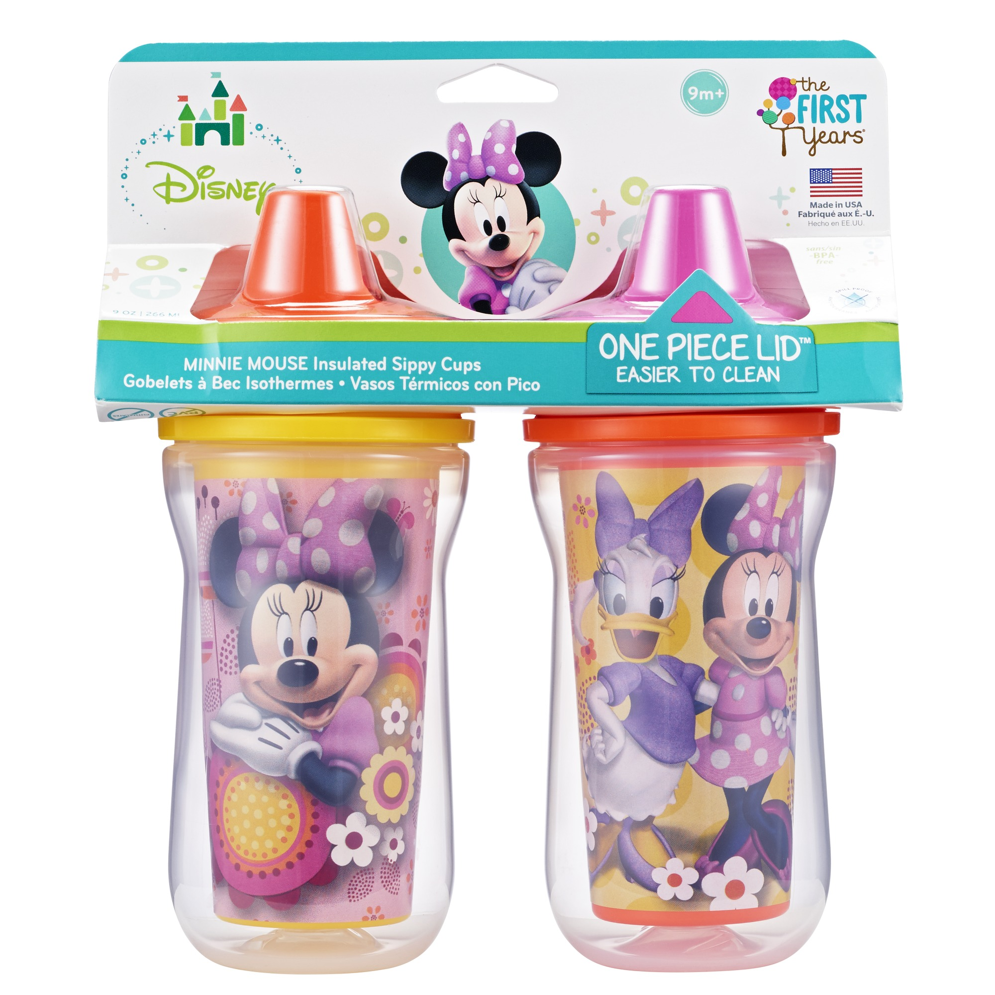 The First Years Disney Insulated Hard Spout Sippy Cup - Minnie Mouse, 2 pack (Color and style may vary)