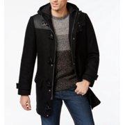 INC NEW Solid Black Mens Size Medium M Faux-Leather Toggle Full-Zip Coat $250