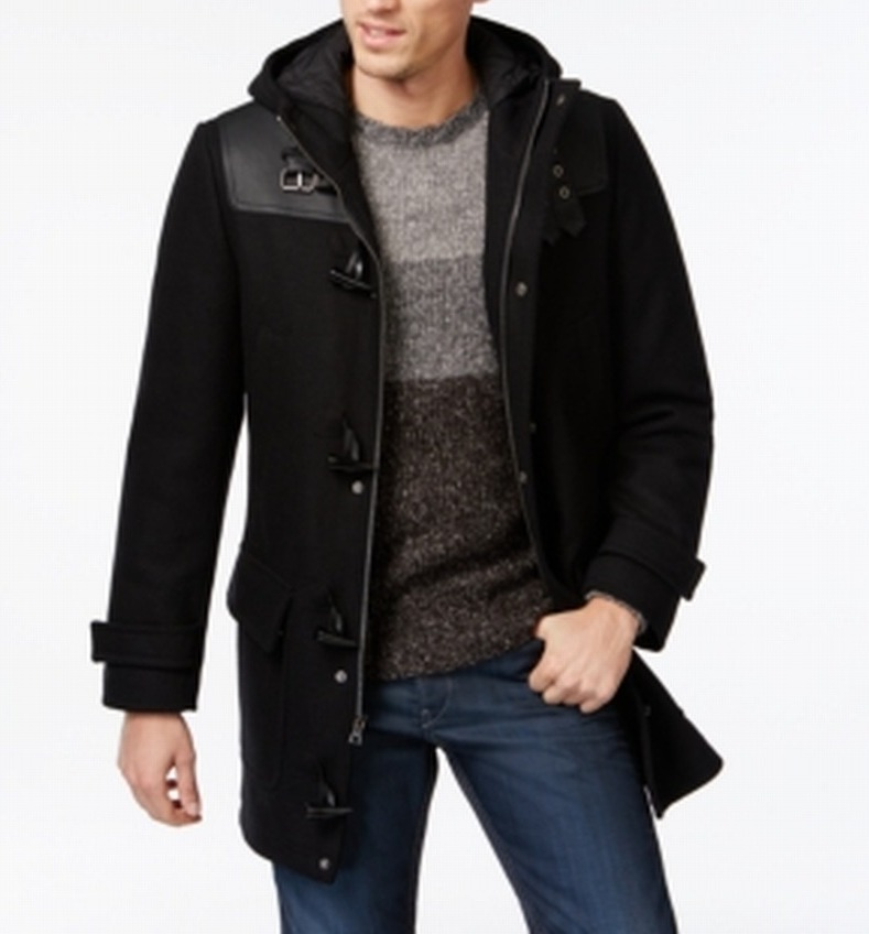 INC NEW Solid Black Mens Size Medium M Faux-Leather Toggle Full-Zip Coat $250