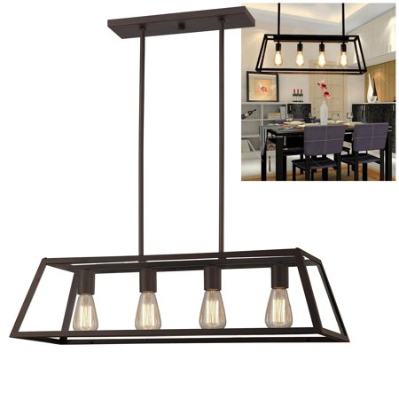Modular Dark Bronze Chandelier - Chandelier 4 Light Fixture Vintage Bulb Farmhouse Glass Framed, Oil Rubbed Bronze